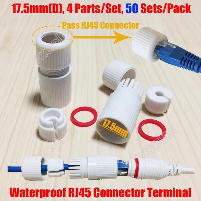 50 יח\חבילה פנימי 17.5mm סיים RJ45 מודולרי עמיד למים מחבר כובע מסוף כיסוי מעטפת עבור חיצוני רשת IP מצלמה כבל