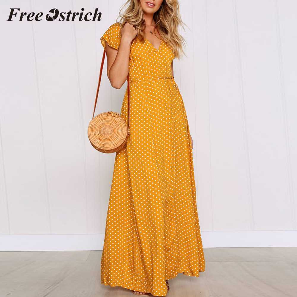Free Ostrich 2019 Womens Dot Long Boho Dress Lady Beach Summer Sundrss Maxi Dress New French Holiday Style Long Dress Hot Sales