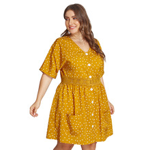 Ladies Elegant Dress Pockets Casual Beach Polka Dot Loose Midi Summer High Waist Yellow Clothes Women 2019