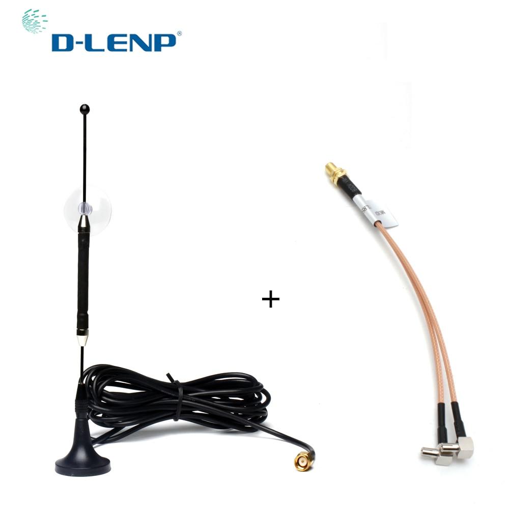 Dlenp 4G 10dBi 4G Antenne 696-960 MHz/1710-2690 MHz RG174 mit SMA Weibliche Y typ 2 X TS9 STECKER RG316 3 Mt Kabel Magnetfuß