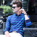 Troilus Fashion Men Autumn Striped Turn-Down Collar Long Sleeve Polo Shirt Mens Polos Homme Cotton Brand Boss Casual Stripe Polo