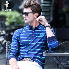 Troilus Fashion Men Autumn Striped Turn-Down Collar Long Sleeve Polo Shirt Mens Polos Homme Cotton Brand Boss Casual Stripe Polo