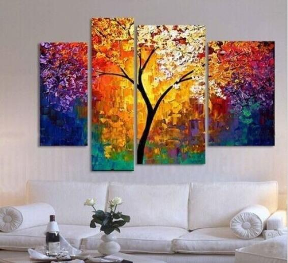 Handpainted Oil Painting Palette Knife Paintings For Living Room Wall Large  Canvas Art Cheap Abstract Tree Part 50