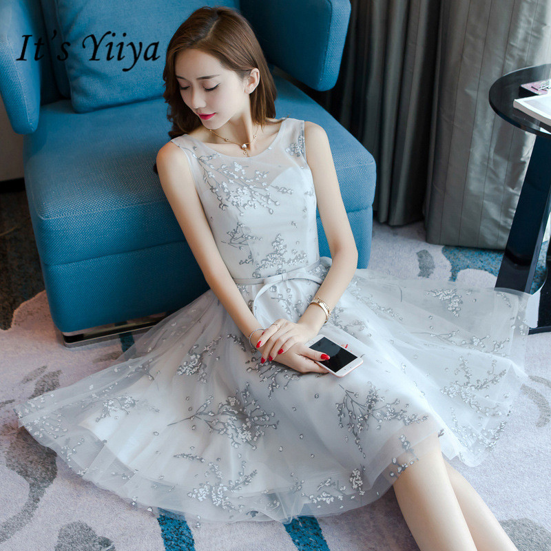 It's YiiYa Gray O-neck Sleeveless Bridesmaid Dresses Elegant Lace Ankle-length Slim A-line Frocks H255