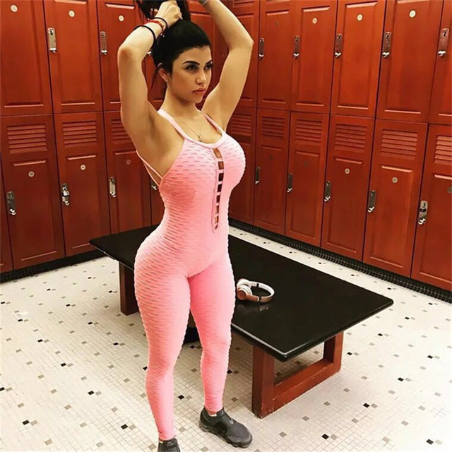90e4633c352e Gothic Style Women Sporting Jacquard Weave Jumpsuits Fitness Knitted Sexy  Elastic bodysuit Push Up Playsuit Slim Feme Jumpsuit