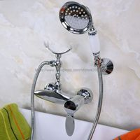 Free shipping Bathroom Bath Wall Mounted Hand Held Antique Brass Shower Head Kit Shower Faucet Sets Bna257