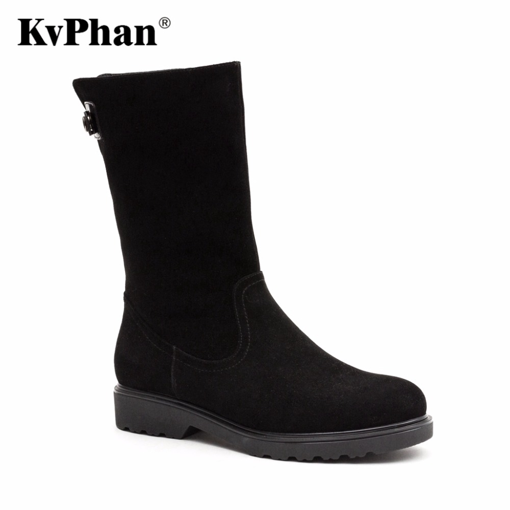 KvPhan 2017 New Sheepskin Suede Boots Mid-calf Black Matte Wool Fur For Winter Women Warm Snow Boots Genuine Leather Zip Shoes double buckle cross straps mid calf boots