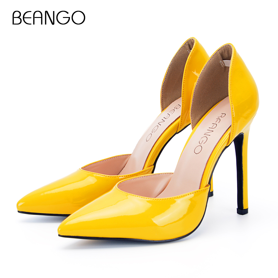 BEANGO Stiletto High Heel Shoes Yellow Shiny Leather Party Pumps For Women Super Thin Heel Sheepskin Real Leather Shoe size 42 burgundy gray saphire blue pink women dress party career work shoes flock shallow mouth stiletto thin high heel pumps
