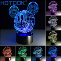 2017 Novelty 3D LED Optical Illusion Table Lamp Mickey Mario 7 Colors Night Lampara With USB