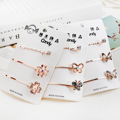 New crystal hairpin cute fashion rhinestone butterfly flower hair accessories female