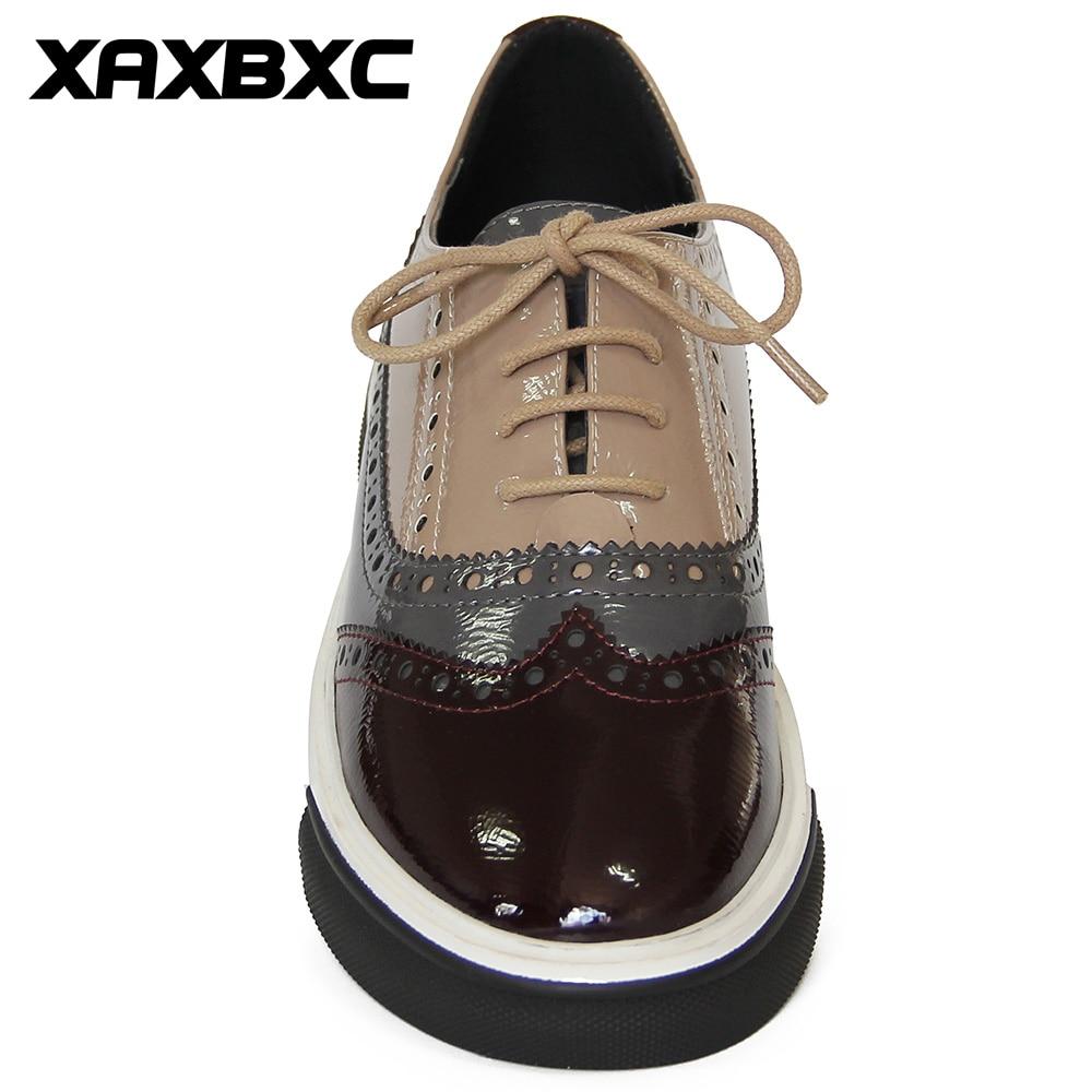 XAXBXC 2018 Primavera Otoño Estilo Británico Brogues Oxfords Pisos - Zapatos de mujer - foto 4