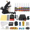 Solong Tattoo Nueva Principiante Kit de Tatuaje 1 Pro Machine Gun tip 7 colores juego de tintas de Alimentación Aguja Grips TK105-79