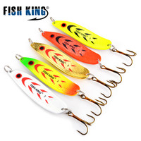 5pcs/lot Metal Spoon Spinner Fishing Lure Wobblers For Trolling Bass Fishing Trout Spoon Bait Hard Lures Treble Hook Fishing Lures     -