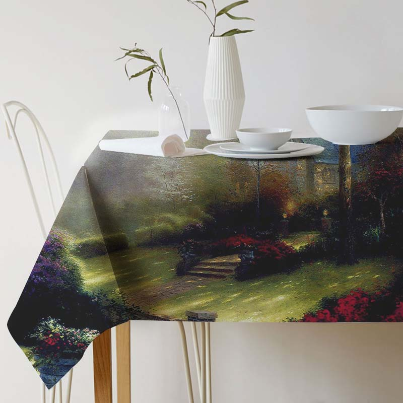 Tablecloth for table Cotton Linen Thomas Kinkade Painting Art Decorative table cloth Dining Table Cover For Kitchen Home Decor