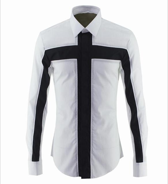 Unique Design Men's Fashion Cross Patchwork Dress Shirt Long Sleeve Breathable Shirt Male Top Cotton Slim Shirts