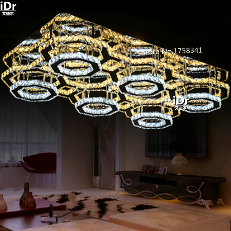 New Item Rectangle LED Chandelier Ceiling Living Room Lamp Crystal Light Fixtures Remote Control Lighting