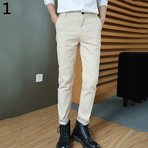 Men S Fashion Casual Pockets Solid Color Slim Fit Trousers Long
