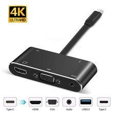 USB C Hub zu HDMI 4K VGA USB3.0 Hub Adapter 5 in 1 USB Typ C Konverter mit 3,5mm Audio und USB C Schnelle Ladegerät für MacBook Dell