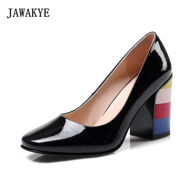 1152bb19725b92 JAWAKYE Regenbogen Ferse Lackschuhe Frauen Luxus Patchwork schwarz red  Chuncky High heels Frauen Pumpen Zapatillas Mujer