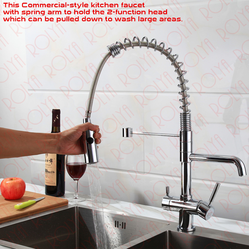 Rolya 3 way kitchen faucet with spring hose 9