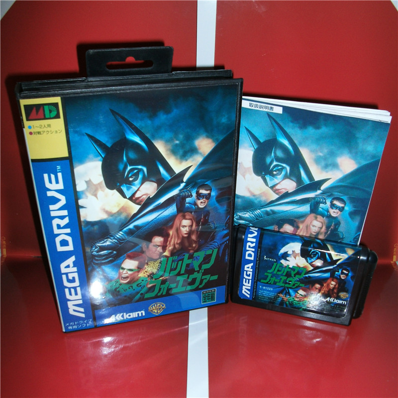 Batman Forever Japan Cover with box and manual For Sega Megadrive Genesis Video Game Console 16 bit MD card