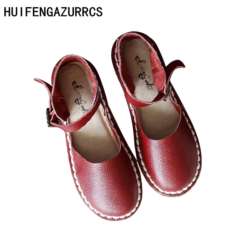HUIFENGAZURRCS Original homemade style female leather shoes handmade sandals soft bottom round head comfortable Rome sandals