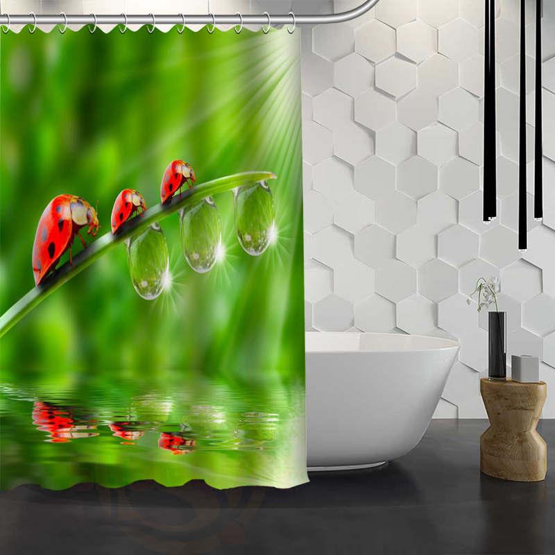 Hot Sale Custom Beetle Grass Shower Curtain Waterproof Fabric Bath Curtain for Bathroom F#Y1-17
