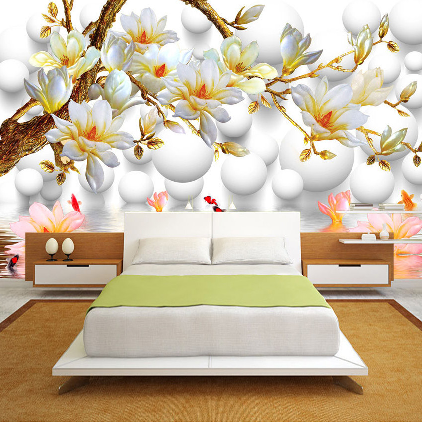 Custom Photo Wallpaper 3D Stereoscopic Relief Magnolia Flower TV Background Wall Decor Mural Living Room Bedroom Wall Painting vintage beautiful mahogany living room large mural wallpaper living room bedroom wallpaper painting tv background wall wallpaper