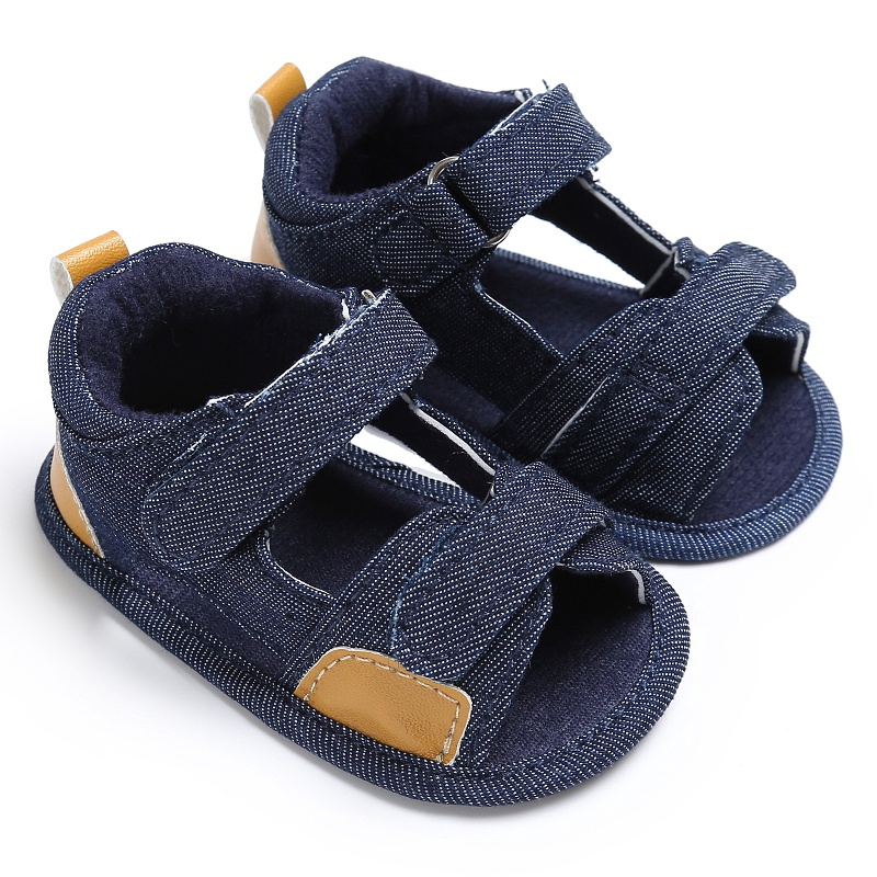 Baby Jean Summer Sandal Casual Patch Hook Cloth Beach Infant Kids Boy Soft Sole Crib Toddler Simple Sandals Hook Shoes