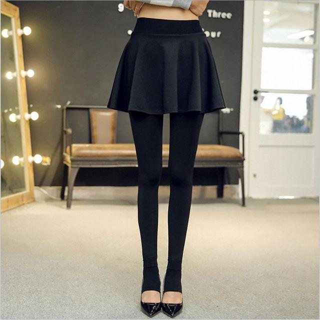 Slim Mini Pleated Skirt With Leggings Winter Women Thickenning Legging Black Bottoms High Waist Short Dress