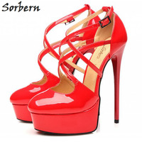 Sorbern Women Shoes 2018 High Heels Platform Pumps Sexy Fashion Cross tied Pointed Toe Ladies Sexy Party Shoes DIY Color