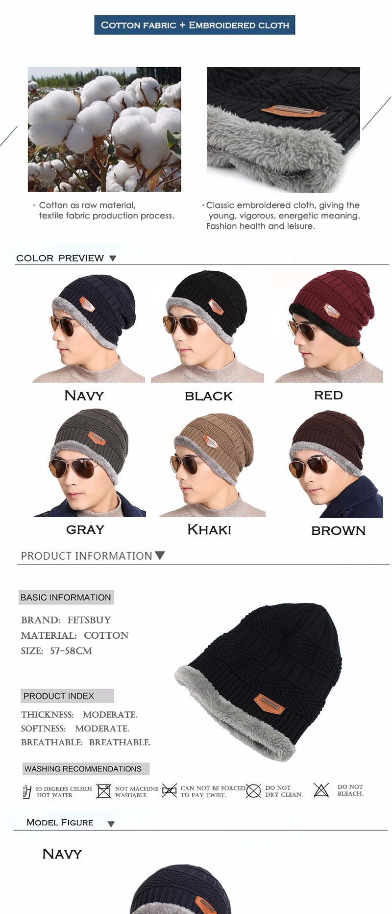 FETSBUY Pure Color Winter Skullies Beanies Hat Knit Winter Hat For Man Warm Hat Velvet Cap Bonnet Toucas Inverno Knitted Hats 14