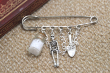 12pcs Supernatural inspired salt and burn themed charm with chain kilt pin brooch 50mm