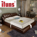 IFUNS cheap bedroom furniture double sofa bed frame genuine leather black brown withe color
