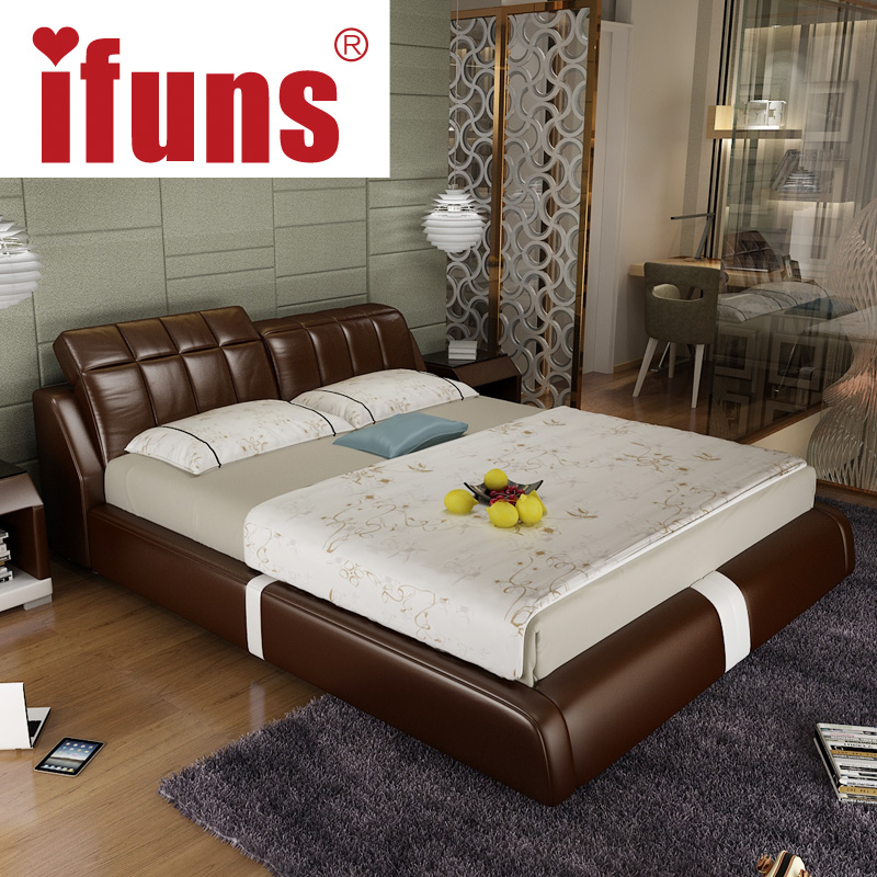 Ifuns Bedroom Furniture Double Sofa Bed Frame Genuine Leather Black Brown Withe Color