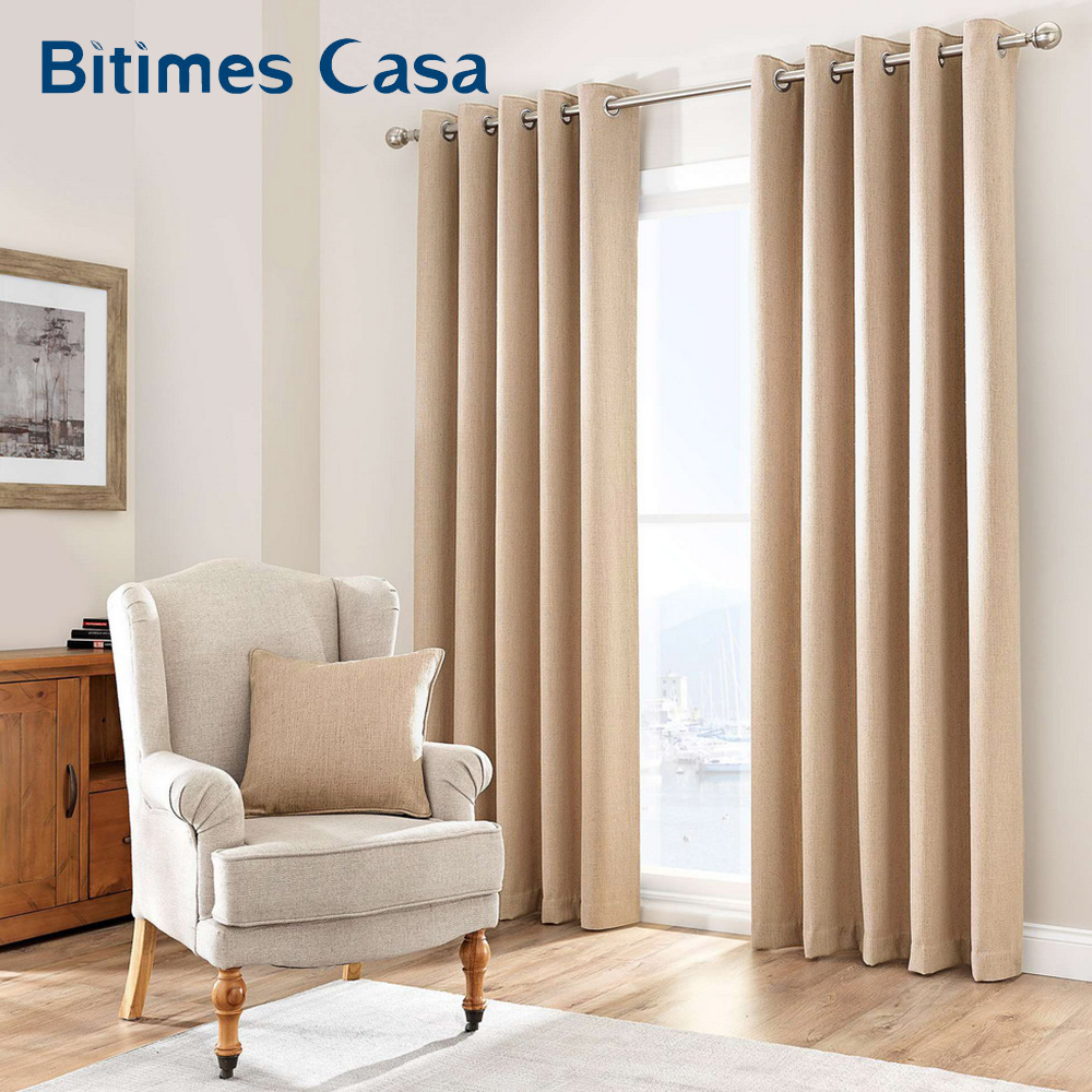 Thermal Insulated Linen 100% Blackout Windows Curtain Lined For Living Room Bedroom Interior Home Decoration Drapes Panel