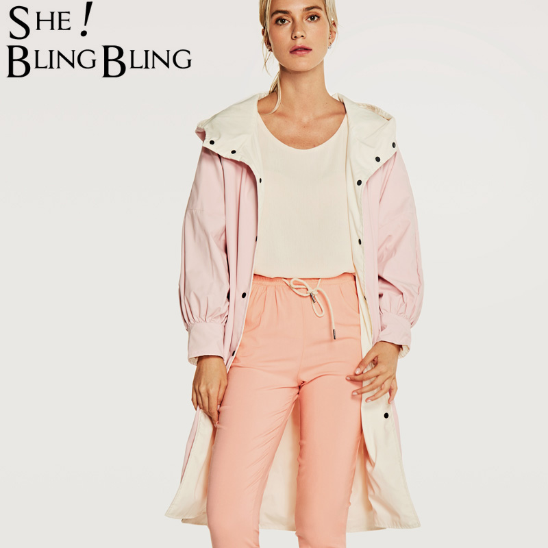SheBlingBling Women   Trench   Coat Hooded Casual Windbreaker New Spring Woman Harajuku Style Autumn Casual Female Overcoat