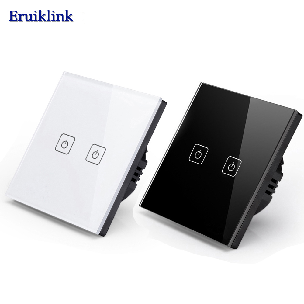EU/UK Standard Eruiklink Wall Switch, Light Touch Switch 2 Gang 1 Way AC110V-240V Wall Touch Switch smart home uk standard crystal glass panel wireless remote control 1 gang 1 way wall touch switch screen light switch ac 220v