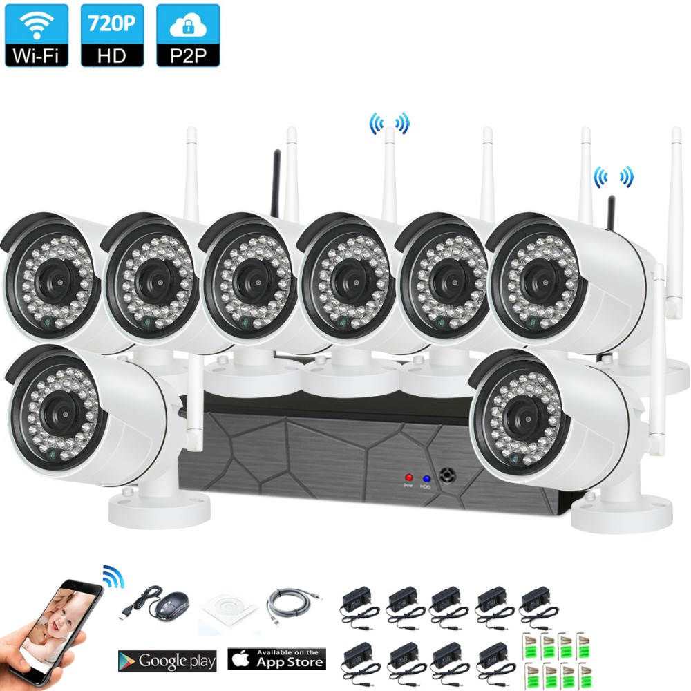 Plug and Play 8CH 1080P HD Wireless NVR Kit P2P 720P Indoor Outdoor IR Night Vision Security 1.0MP IP Camera WIFI CCTV System