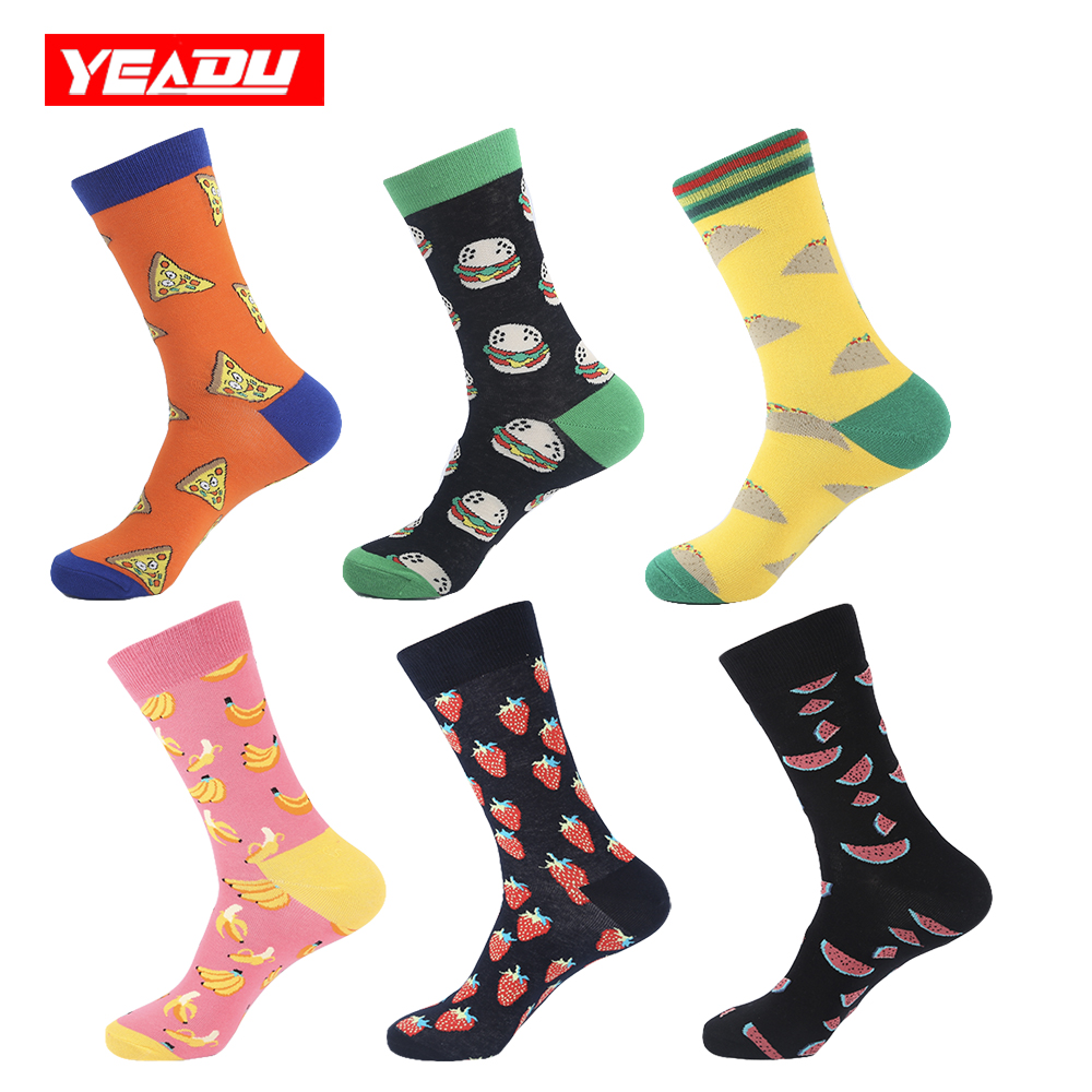 YEADU Mens Socks Funny Happy Food Hamburger Hot Dog French Fries Pineapple Pear Socks for Men Wedding Birthday Party Best Gift ...
