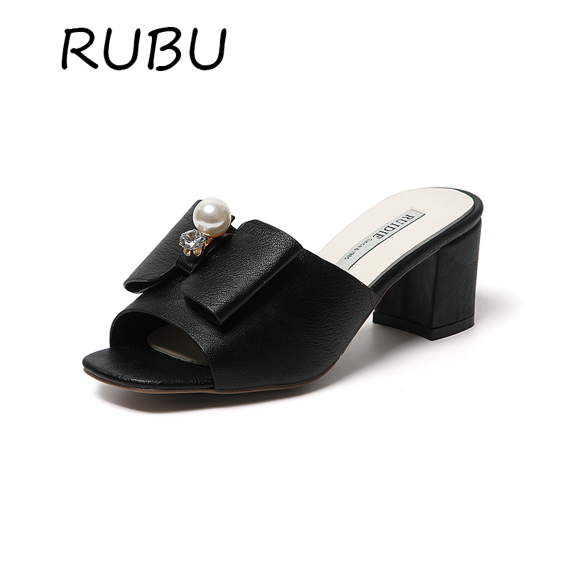 Square High Heel  Summer Buttefly knot  Shoes Women Leather Platform Sandals Lady Peal Sandals woman Flip Flops Square Heel xiaying smile summer new woman sandals platform women pumps buckle strap high square heel fashion casual flock lady women shoes