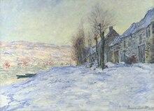 Claude Monet Canvas Painting Lavacourt under snow Landscape Reproduction For home decoration Custom
