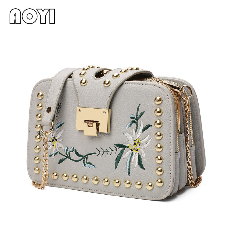 AOYI Fashion Ladies Embroidered Handbags Ladies Small Squares Bag Ladies Famous Brand Designer Shoulder Bag Girl