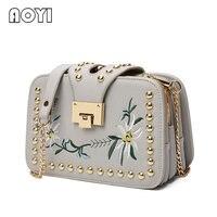 AOYI Mode Dames Geborduurd Handtassen Dames Pleintjes Tas Dames Beroemde Merk Designer Schoudertas Meisje Clip Clutch