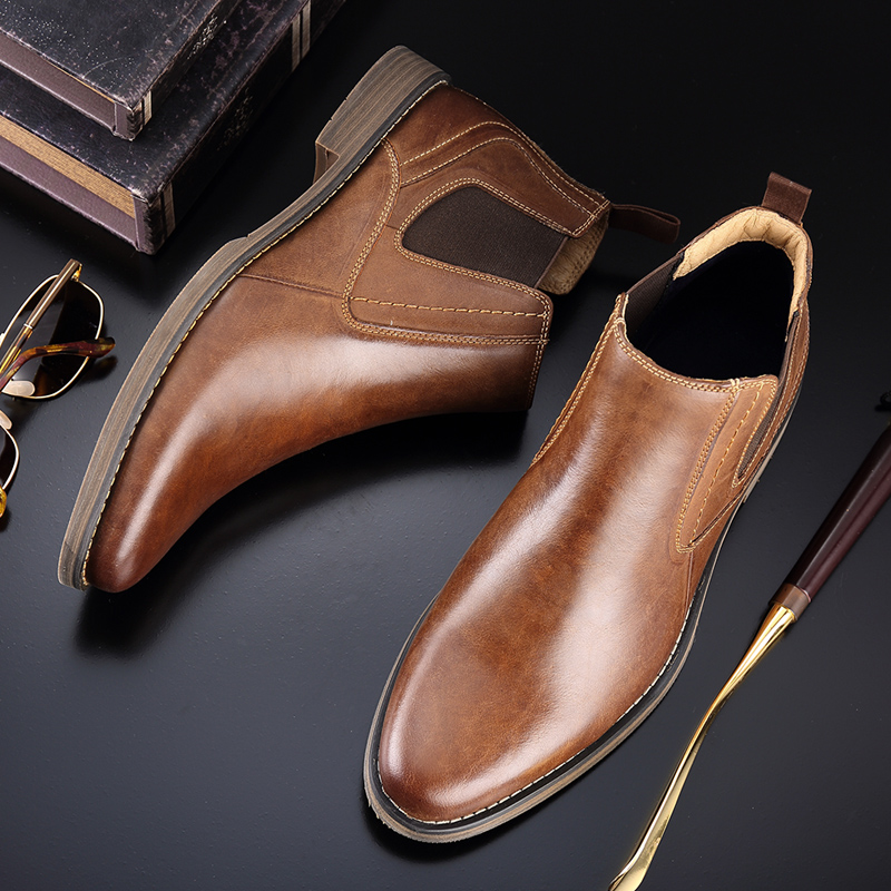 leather slip on shoes brown