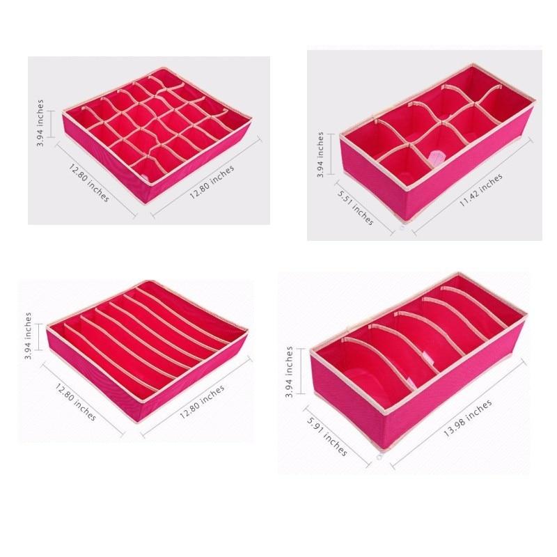 Family Must-have 4 Sets of Underwear Storage Box Storage Box Folding Drawer Wardrobe Separator Container Bra Storage Organizer