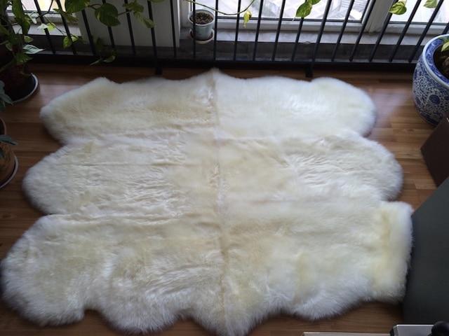 Cm p natuur wit lamsvacht kleed echt schapenvacht