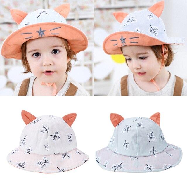 b7ac31a01a8 Baby Leaves Print Ear Sun Hats Children Girls Summer Panama Caps Baby Girls  Fisherman Straw Hat