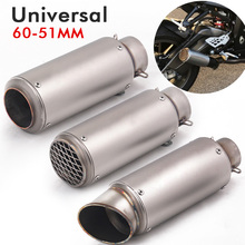 51mm 60mm Universal Motorcycle Escape Motorcross Scooter SC Exhaust Pipe Muffler For FZ6 Ninja300 cbr650f cbr1000rr mt07 z800 r6