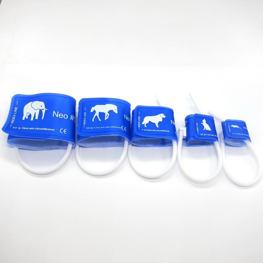 5 hüvelykes állat-egészségügyi speciális NIBP mandzsetta, egyetlen csővel, háziállat számára, csatlakozó nélkül